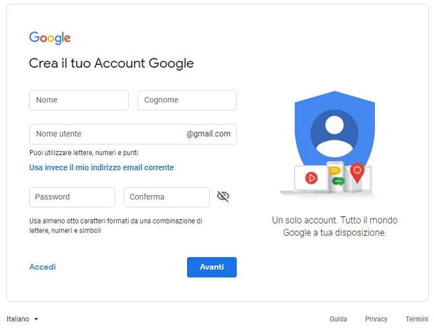 Creare account Google desktop