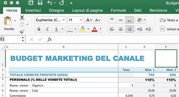 Come mostrare colonne in Excel