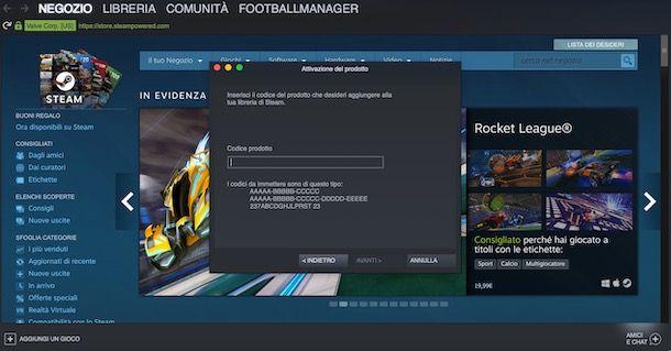 Aggiungere un gioco su Steam