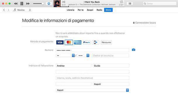 Come cambiare metodo di pagamento da iTunes