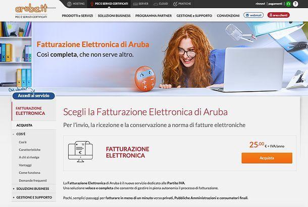 Fatturazione elettronica di Aruba