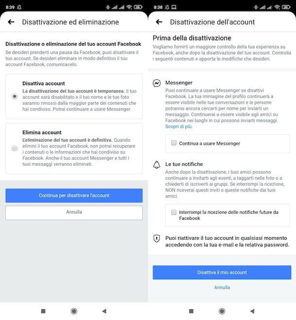 Disattivare account Facebook da mobile