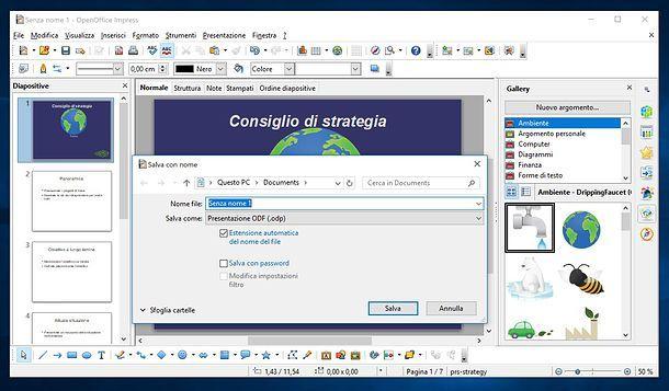 Salvataggio presentazione OpenOffice