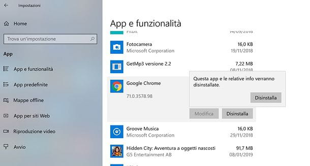 Come disinstallare Google Chrome da Windows 10