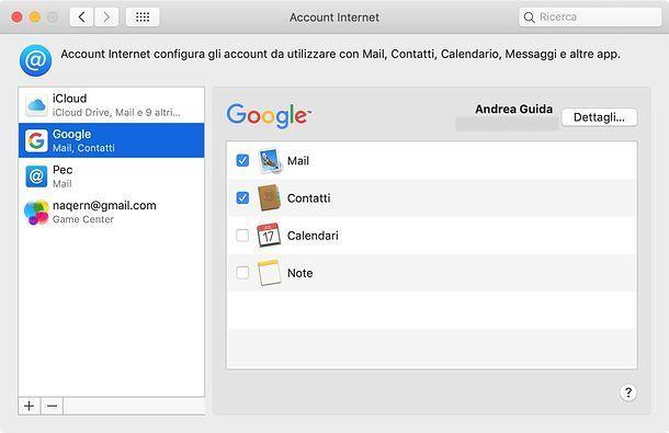 Come sincronizzare contatti Gmail su macOS