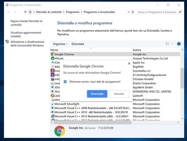Come disinstallare Google Chrome da Windows
