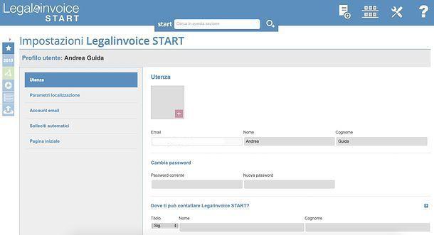 Profilo utente Legalinvoice