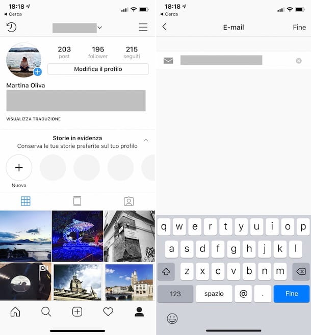 Come cambiare email Instagram