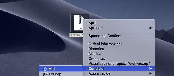Come inviare file zip da Mac