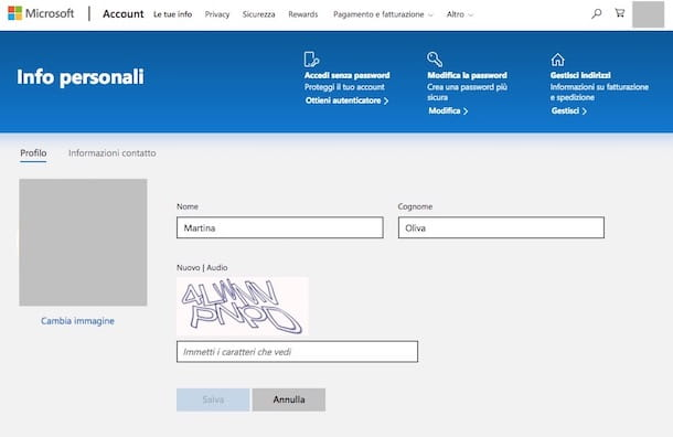Come cambiare nome email