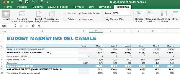 Come bloccare prima riga Excel