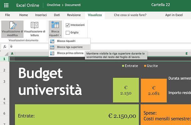 Come bloccare la prima riga in Excel Online