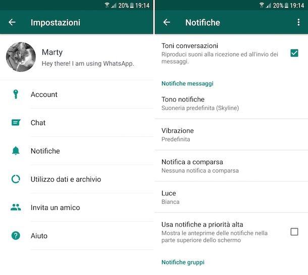Come togliere anteprima messaggi WhatsApp
