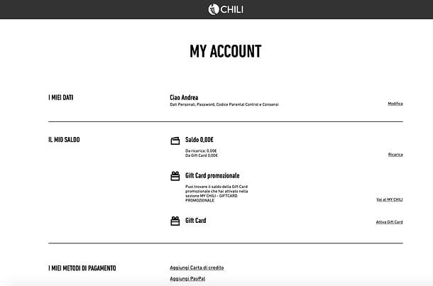 Gestione account CHILI