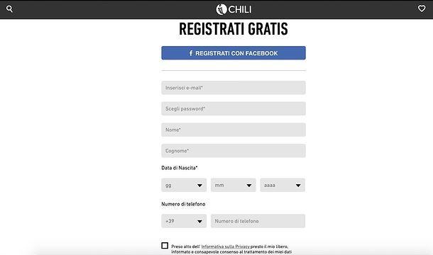 Registrazione a CHILI
