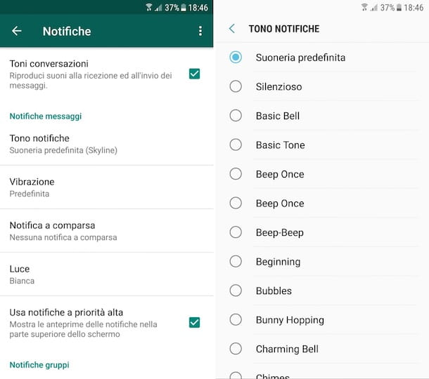 Come cambiare suoneria notifiche Samsung