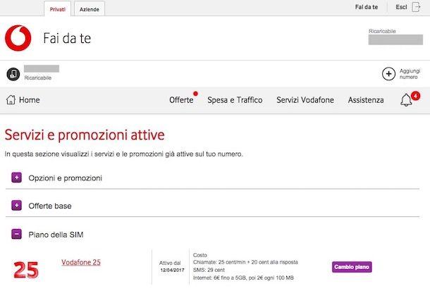 Come conoscere il proprio piano tariffario Vodafone