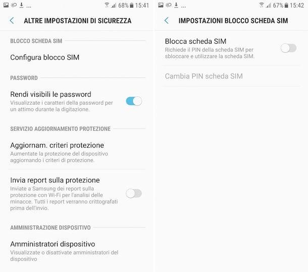 Come togliere PIN SIM Samsung