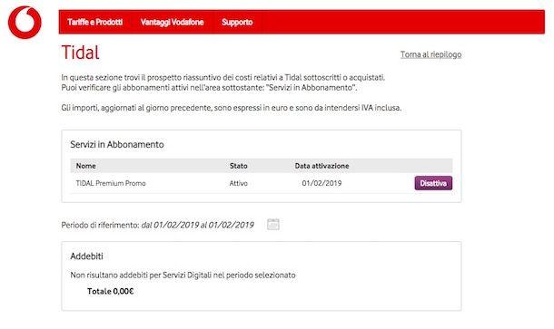 Come disattivare Tidal Premium Vodafone