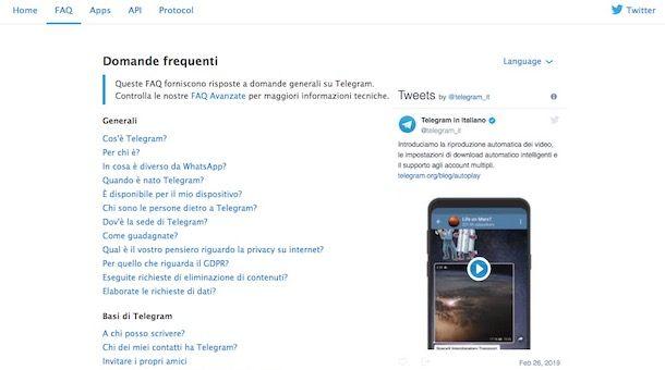 Screenshot della sezione del sito di Telegram dedicata alle FAQ