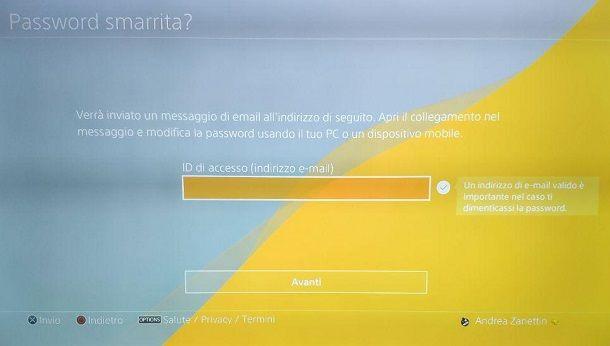 Recuperare password PSN da PS4