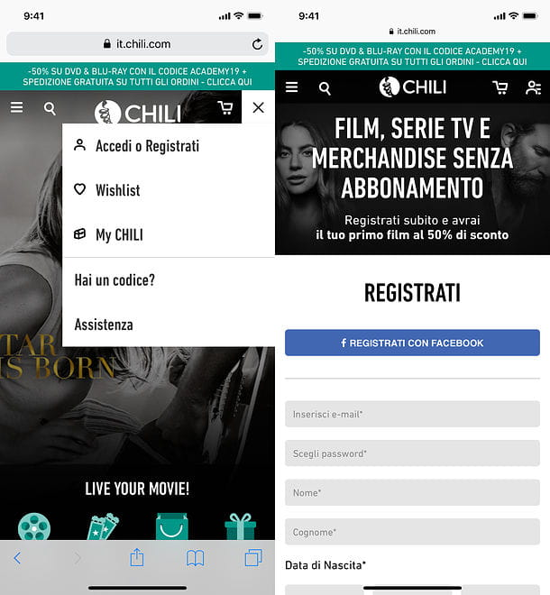 Registrazione CHILI da iOS