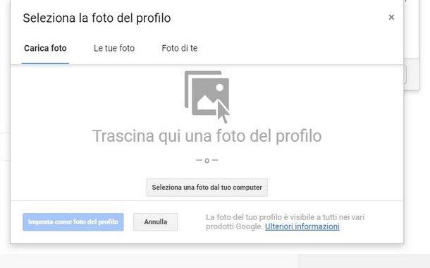 cambiare l'immagine del profilo Google