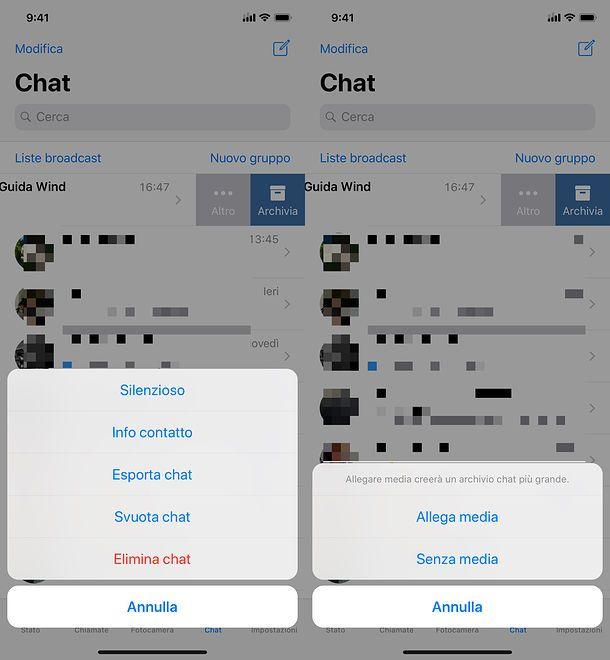 Esportazione della chat ios