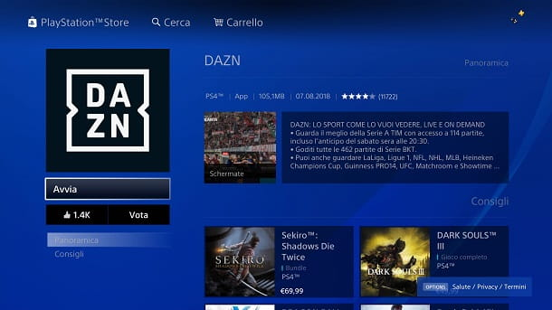 Scarica DAZN PS4