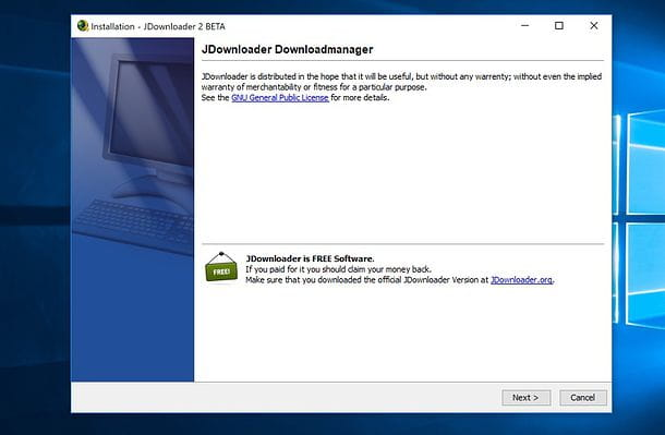 Installazione di JDownloader su Windows