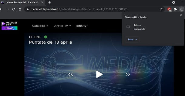 Mediaset Play Infinity chromecast Web