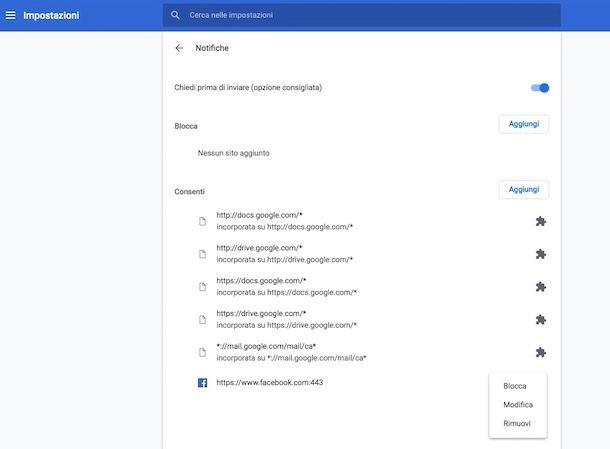 Come togliere le notifiche di Chrome