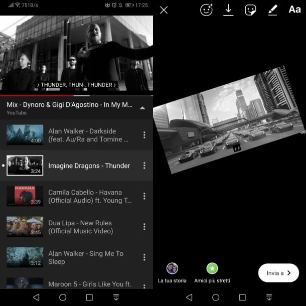Caricare video Youtube storie Instagram Android