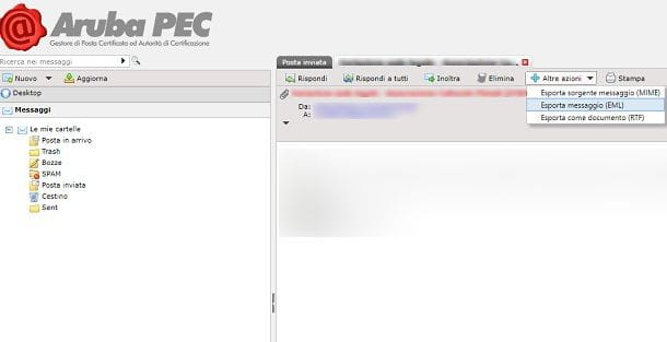 aruba pec download mail
