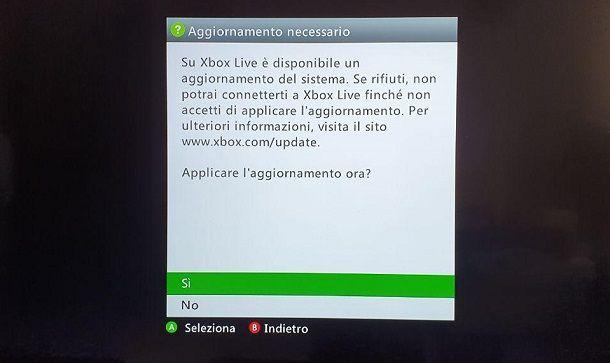 Aggiornamento Xbox 360