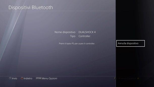 Annulla Dispositivo PS4