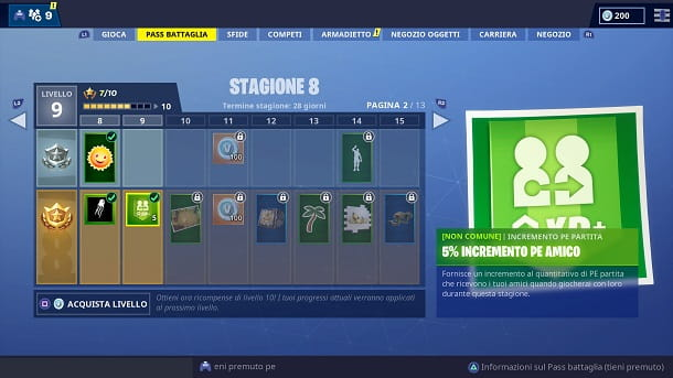 Bonus EXP Pass Battaglia Fortnite