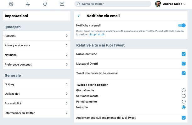 Disattivare email Twitter da PC
