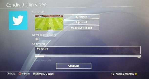 Carica clip Twitter PS4
