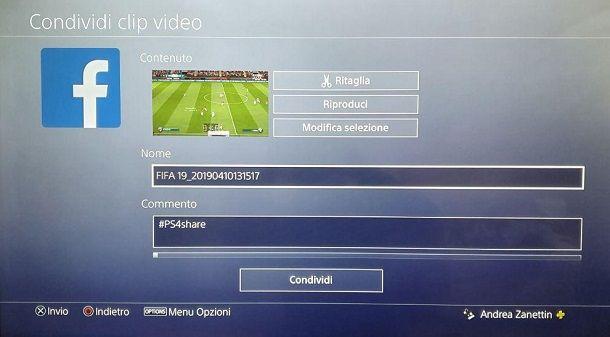 Condividi Clip Video PS4 Facebook