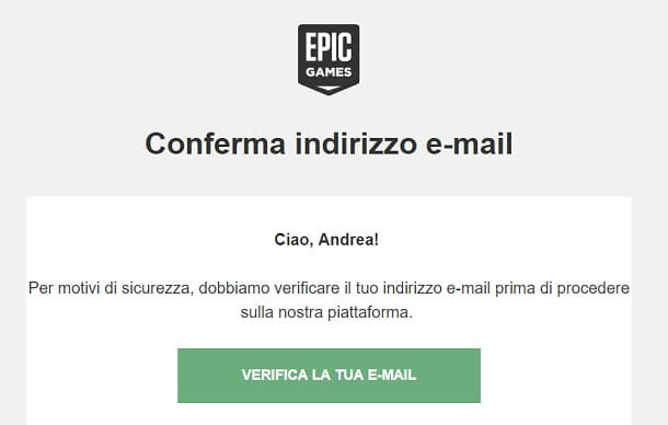 Epic Games Verifica Email
