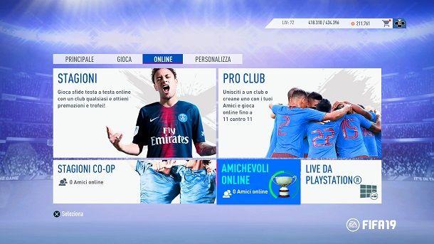FIFA 19 Amichevoli Online