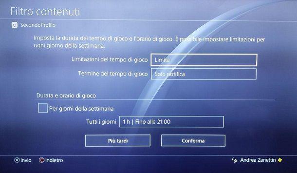 Filtro Contenuti PS4