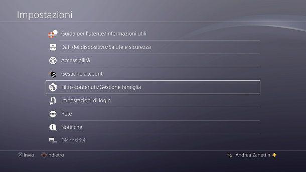 Gestione Famiglia PS4