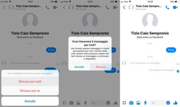 Come eliminare un messaggio su Messenger prima che venga letto