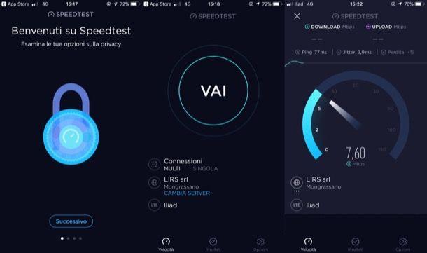 come vedere velocità Internet
