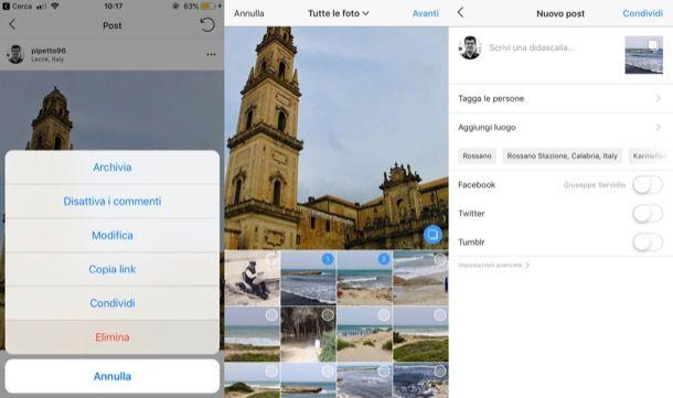 Come eliminare una foto da un post multiplo su Instagram
