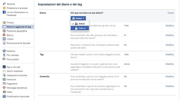 Impostazioni Bacheca Facebook