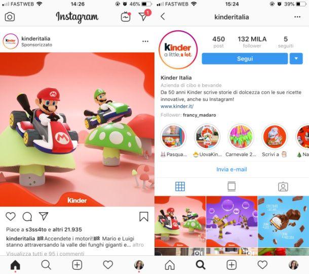 Instagram post sponsorizzati