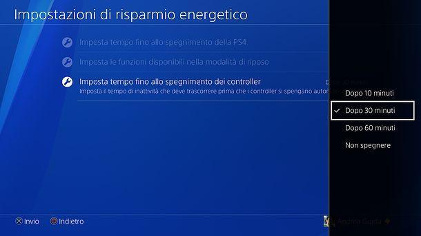 Come spegnere controller PS4 automaticamente